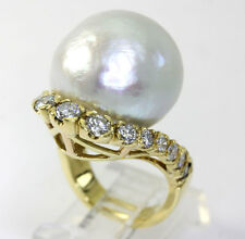 Diamond Mobe pearl ring 18K yellow gold 15 G-H round brilliant 18 MM 2.20CT sz 7