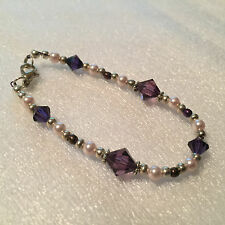 16cm bracelet with purple and pink Swarovski crystal beads and pearls - T9