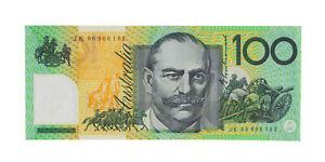 1996 Fraser/Evans $100 One Hundred Dollar JK Last Prefix Note UNC R.616L D5-619
