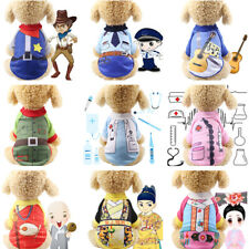 Pet Cosplay Police Doctor Uniform Dog Cat Clothes Cotton T-Shirt Party Costumes