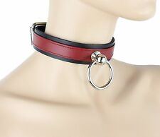 Red Leather O Ring Bondage Choker Sexy Fetish Collar Alternative Necklace