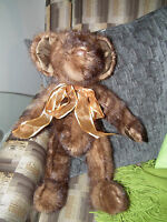 VINTAGE RECYCLED DARK MINK HAND CRAFTED JOINTED TEDDY BEAR OOAK