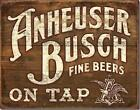 Anheuser Busch Fine Beers On Tap Rustic Wood Look Tin Metal Sign Made In The USA