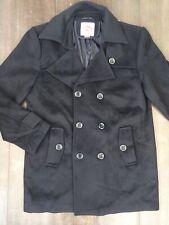 Lee Cooper Originals XL Wool Blend Smart Black Coat Double Breasted EXTRA LARGE