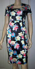 WOLF & WHISTLE Daffodil Print Angled Neck Midi Pencil Dress Size 6  RRP £48