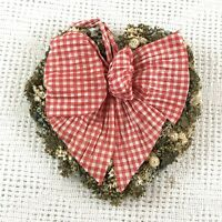 Vintage Cottagecore Real Dried Flower Heart Shaped Wreath Red/White Gingham Bow