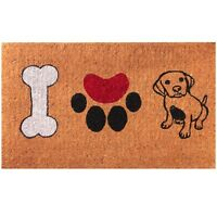 Handwoven 18 x 30 Inches I Love Dogs Coir Outdoor Entrance / Welcome Doormat