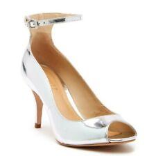 f9e3c150b5 SCHUTZ Liffa Mirrored-Leather Ankle Strap Heels Size 10
