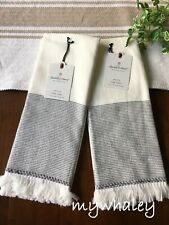 NEW Set of 2 Micro Stripe Gray HAND TOWEL Hearth & Hand with Magnolia Cotton NWT