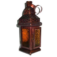 "Moroccan Candle Lantern, 11"" X 4.5"" Antique Yellow Glass Tealight Candle Holder"