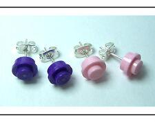 ☆NEW☆ 2 Pair Girl LEGO Round Pink & Purple Earrings!