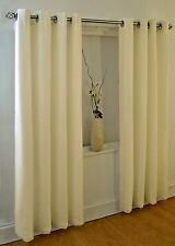 CLASSIC CREAM PLAIN RING TOP EYELET 56 X 72 LINED VOILE CURTAINS