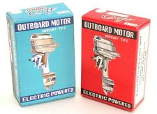 2 Vintage Original UNION CRAFT MERCURY TIPE Outboard Motor Boxes Empty Red Blue