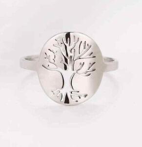 Bague arbre de vie acier inoxydable argenté bijou pour femme taille 54 / USA 7