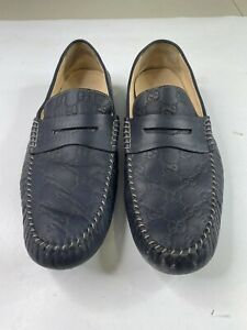 Authentic Gucci GG Monogram Loafers Driving Shoes Blue Leather Men's 11.5