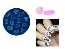 Clock Hourglass Design Nail Art Stamp Template Image Plate Stamper Scraper Kit