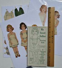 Vintage Paper Dolls -5 old fashioned girls w/dresses & hats - pre-cut