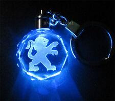 Kristall Auto-Logo LED Blue Nachtlicht Schlüsselanhänger Schlüssel Kette Peugeot