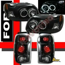 98-01 Ford Explorer Dual G3 Halo LED Projector Headlights & Tail Lights Black