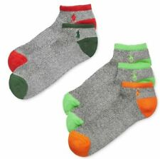 $55 Polo Ralph Lauren Men 5 Pairs-Pack Gray Green Athletic Liner Socks Shoe 6-12