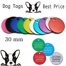 Dog Cat Pet Tag ID Tags Personalised Engraved 30mm Anodised Design Pet Collar