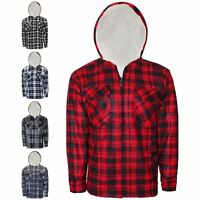Mens Sherpa Fleece Hooded Lumberjack Padded Work Shirt Warm Fur Lined Zip Jacket