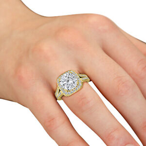Real 10KT Solid Yellow gold 2.25ct Round Brilliant Halo Diamond Engagement Ring
