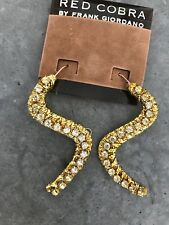 Retro Vintage Red Cobra Frank Giordano Gold Snake Rhinestone Earrings Drop 80s