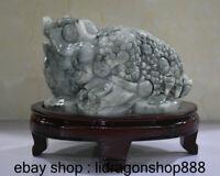 "6.8 ""naturel emerald jadeite richesse statue sculpture feng shui crapaud doré a9"