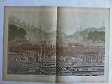 LITHOGRAPHIE EXPOSITION  PARIS Nlouvelle Avenue des CHAMPS ELYSEES fin mai 1899