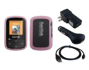Black Charger Cable + Pink Skin Case for Sandisk Sansa Clip Sport Plus SDMX28