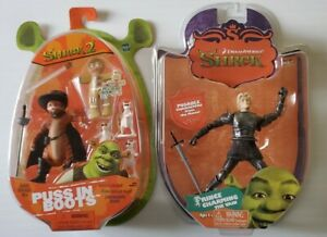 Shrek 1 & 2 Action figure Prince Charming the Vain & Puss in Boots 3 blind mice