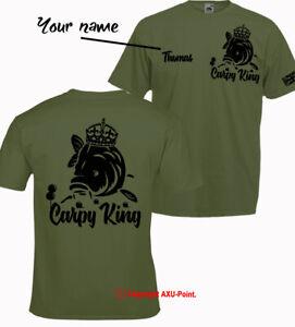 Personalised Carp fishing t-shirt CARPY KING big carp hunter crew barbel fishing