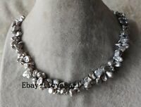 2 Stränge grau Keshi reborn Perle Halskette