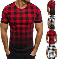 Men Slim Fit Short Sleeve Tartan Plaid T-shirt Casual Fashion Summer Tops Shirts