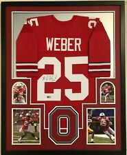 FRAMED OHIO STATE BUCKEYES MIKE WEBER AUTOGRAPHED SIGNED JERSEY TRISTAR HOLO
