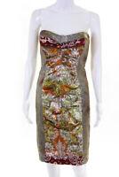 Nicole Miller Collection Womens Silk Metallic Printed Sheath Dress Gold Size 6