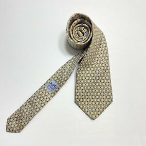 """Hermes Tie 7122FA Gold Geometric on Yellow Background 57"""" GUC"""