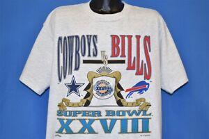 vtg 90s DALLAS COWBOYS SUPER BOWL XXVIII BUFFALO BILLS NFL t-shirt FOOTBALL XXL