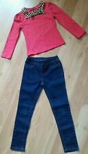 Lot of 2 Girls Outfit Set Top Shirt & Jegging Jeans, size 5 Youth Kids