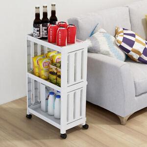 Kitchen Bathroom Storage Trolley 3/4 Tier Rolling Cart Storage Shelf Holder Rack