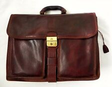 THE BRIDGE tan brown genuine leather attache briefcase bag with key business