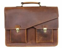 Herren Leder Tasche XL Aktentasche Damen Schultertasche groß Umhängetasche PB43