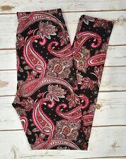 PLUS Size Pink Black Paisley Print Leggings Curvy 10-18