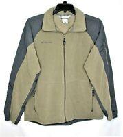 Columbia Mens Size Large Fleece Nylon Jacket Full Zip Gray Army Green