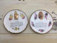 THE LORDS PRAYER - 2 Vtg Mid-Century Enesco Wall-Hanging Painted Plates