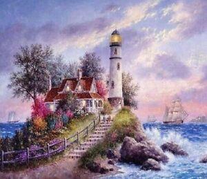 Lighthouse LARGE Full Drill Diamond Painting Kit Square Diamonds Home Art