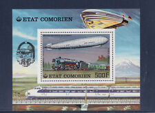 Comores     bloc  histoire des communications  train zeppelin  avion    1977