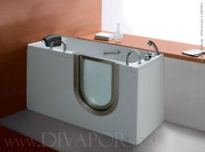 Di Vapor Varedo Walk in Bath - One Person Mobility Tub - 133cm x 65cm