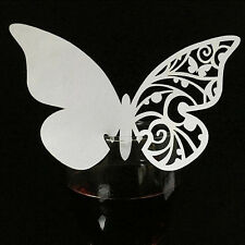 50pcs Luxury Wedding Name Place Cards for Wine Glass Laser Cut Pearlescent Card Butterfly#1